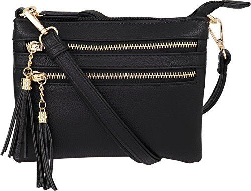 - Vegan Mini Multi-Zipper Crossbody Handbag Purse with Tassel Accents (Black.)
