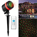Christmas Laser Lights, ALPULON 8 in 1 Patterns RG Starry Laser Projector Lights IP65 Waterproof Landscape Lights with Remote Control Timer for Christmas Garden Yard Tree Decor Outdoor Party