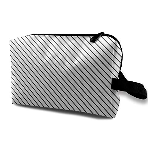 (Yunshm Diagonal Stripes Gray Customized Cosmetic Storage Bag Large Capacity Woman for Travel Carry Bag)