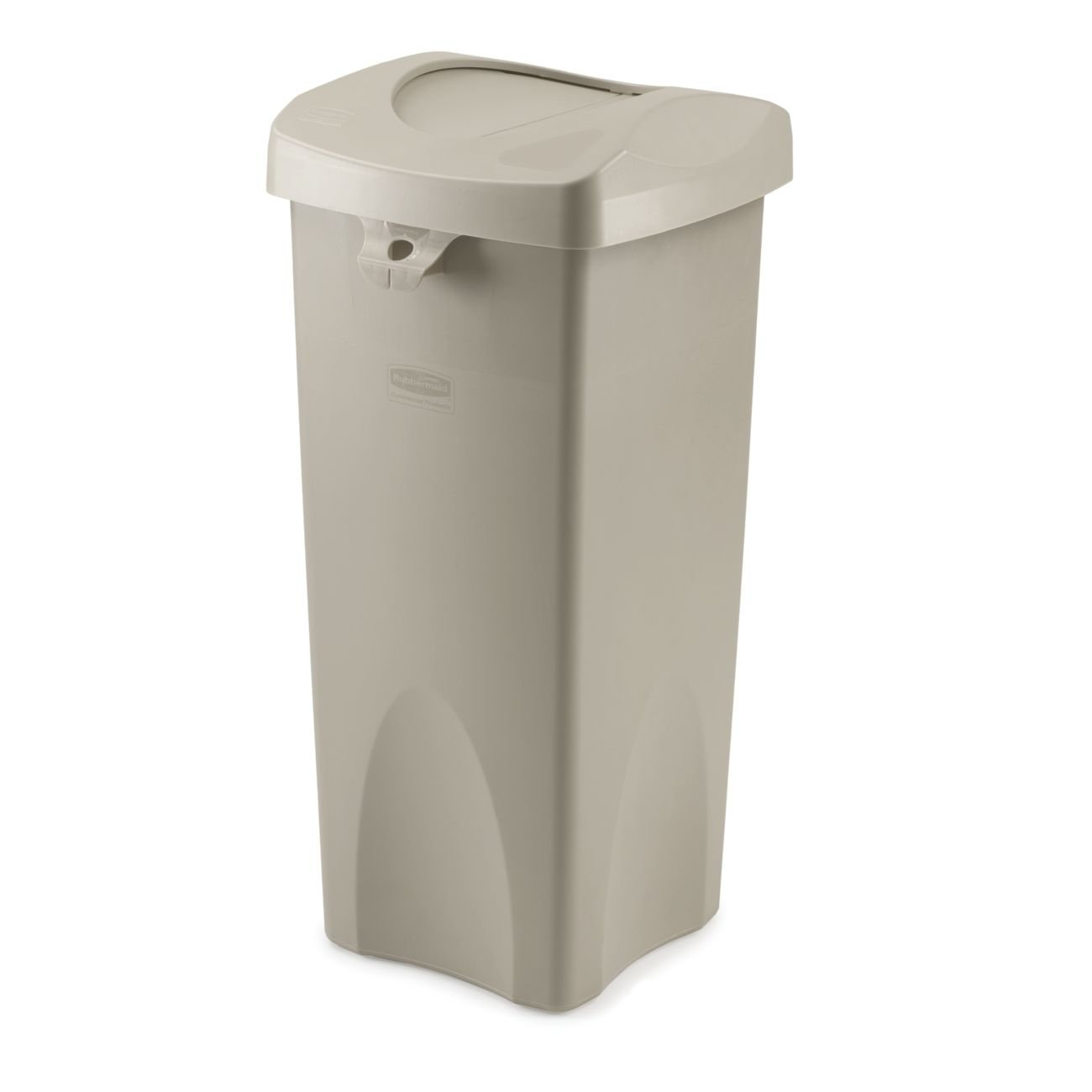 Rubbermaidmercial 23gallon Untouchable Trash Can With Swing Lidbo,  Rectangular, 168inch Width X 16inch Depth X 341inch Height,