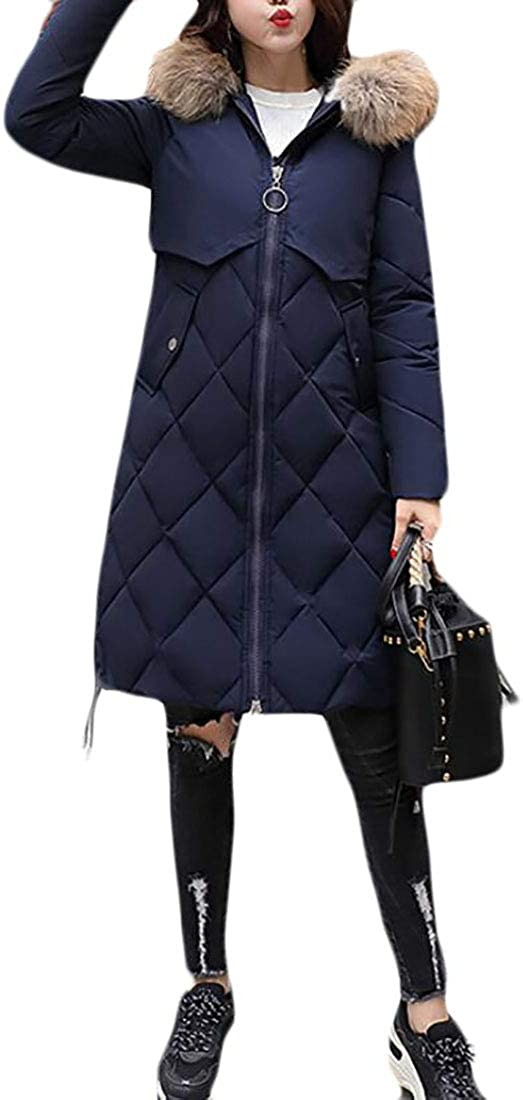 Pluszing Womens Warm Overcoat Quilted Hooded Puffer Long Parkas Coats