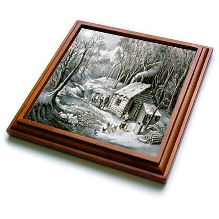 - 3dRose TDSwhite - Christmas Holidays Xmas - Vintage Currier and Ives Wilderness Log Cabin Woods - 8x8 Trivet with 6x6 ceramic tile (trv_285084_1)