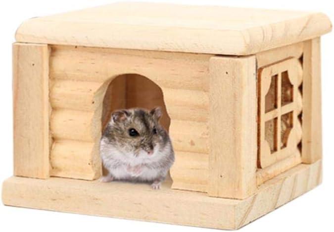 Brownrolly - Hábitat para Animales pequeños no tóxicos, Juguete para Masticar, casa de hámster de Madera, caseta de ratón, Castillo para Dormir, Juguete para Hacer Ejercicio