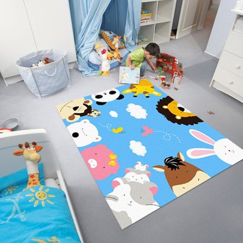 HUAHOO Blue Kids Rug Cartoon Animal Print Rugs Zoo World Kids Rugs and Carpets (Blue Sky)