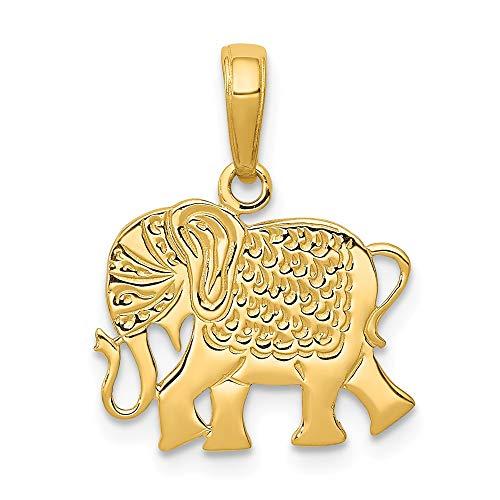 14K Yellow Gold Textured Elephant Pendant