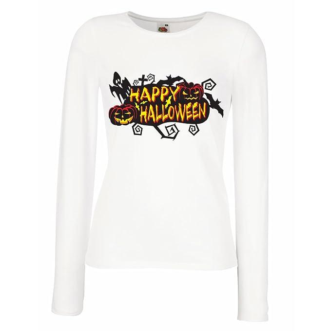 Camisetas de Manga Larga para Mujer Owls, Bats, Ghosts, Pumpkins - Halloween outfit full of Spookiness: Amazon.es: Ropa y accesorios