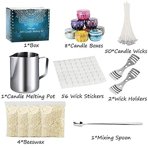 Kerzenherstellung Kit Kerzen Selber Machen Duftkerze Geschenke DIY Kerzenherstellung Zubehör Inklusive Kerzendochten,Dochthaltern,Dochtaufklebern,Kerzendosen,Bienenwachse,Kerzenschmelztopf,Rührlöffel