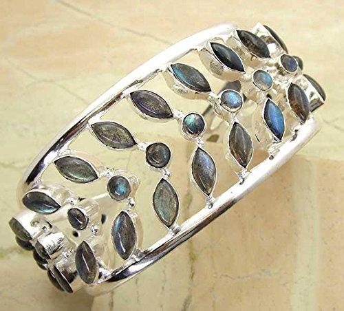 Handmade Silver Bangle - 54.50 gms,46.50 Ctw Genuine Labradorite .925 Silver Overlay Handmade Fashion Cuff Bangle Jewelry