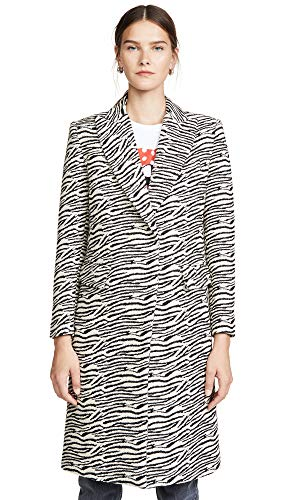 - SMYTHE Women's Peaked Lapel Overcoat, Zebra, Print, Off White, 6