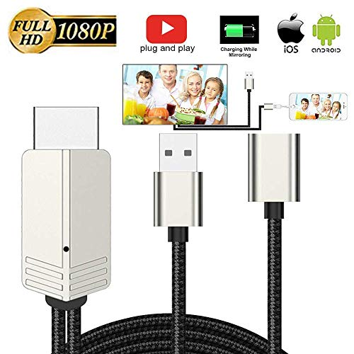 Digital Cable Device - DIWUER Compatible with iPhone iPad Android Phones to HDMI Cable 6.6ft, 1080P Supported Digital AV Adapter for iPhone Xs Max XR X 8 7 6, iPad, Samsung Huawei to TV, Projector, Monitor