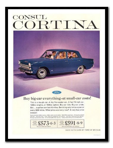 Iposters Ford Consul Cortina Car Advert Print Magnetic Memo Board Black Framed - 41 X 31 Cms (approx 16 X 12 Inches)