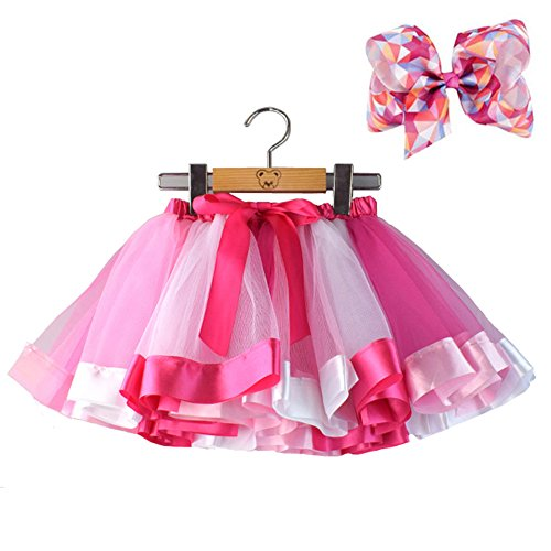 BGFKS Layered Ballet Tulle Rainbow Tutu Skirt for Little Girls Dress Up with Colorful Hair Bows (Rose Rainbow, L,4-8 Age) -