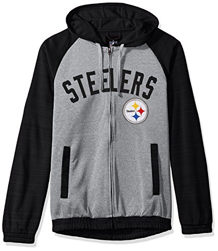 tsburgh Steelers Legend Hooded Track Jacket, Large, Gray ()