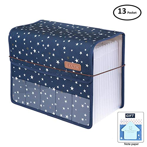 DEEQI Expanding Files Folder A4 Accordion Organizers with Cover 13 Pockets, Expander Storage Wallets,Expandable Filing Folders Large Space,Office School Document with Tab for Sheets Paperwork