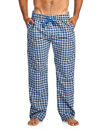 (Balanced Tech Men's Woven Sleep Lounge Pajama Pants - Navy Lt Blue - Small)