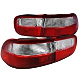 94 honda civic clear taillights - Spec-D Tuning LT-CV92RPW-RS Civic Coupe Sedan 4Pc Red & Clear Tail Lights Stop Brake Lamps