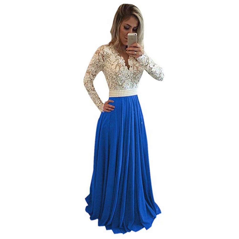 Light bluee Unions Women V Neck Long Sleeves Lace Appliques Formal Evening Gown with Pearl
