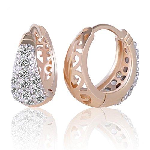 O&W Earrings Round Brilliant 18K Gold Platinum Plated White Crystal Zircon Small Hoop Earing Women Wedding Party E112b (Platinum Earrings Zircon)