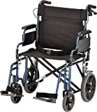 """NOVA Extra Wide 22"""" Heavy Duty Transport Chair with Locking Hand Brakes, Removable & Flip Up Arms for Easy Transfer, 400 lb Weight Capacity, Blue"""