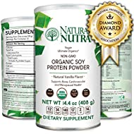 Natural Nutra Organic and Vegan Plant Based Soy Protein Isolate Powder, Vanilla, Raw, Low Carb, Non GMO, Gluten Free, 14.4 oz