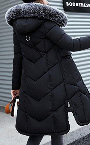 Warm Fur Thickened Collar Long Down Coats Hooded Women Black Gocgt OIq5Zc