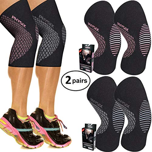 Physix Gear Sport Knee Support Brace - Premium Recovery & Compression Sleeve for Meniscus Tear, ACL, Running & Arthritis - Best Neoprene Wrap for Crossfit, Squats & Heavy Duty Workouts 2 Pairs XL
