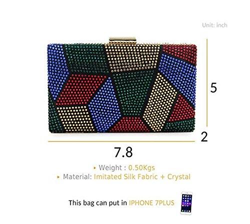 Crystal Women Handbag Clutch Colorful Evening Purses Rhinestone Clutch Multicolored for GSHGA Cocktail I4avYY