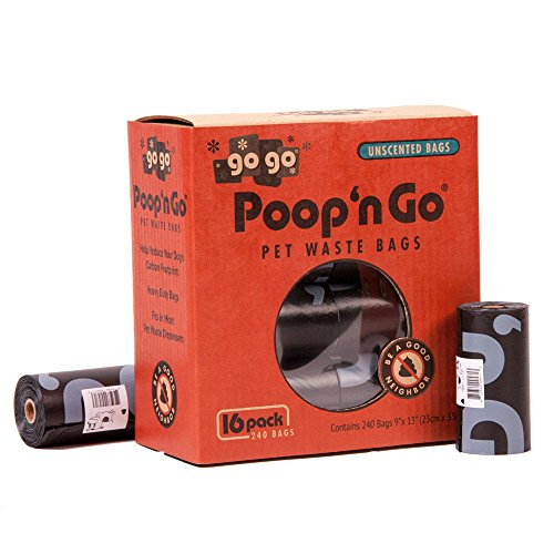 GoGo Pet Products Poop 'n Go Waste Bags (16 Rolls/240 Bags Per Box), Unscented, Black, Large