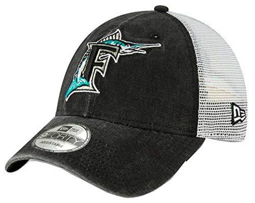 Florida Marlins Logos - New Era 2019 MLB Florida Marlins Baseball Cap Hat 1993 Cooperstown Truck Mesh Black/White