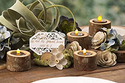 David Tutera Wooden Tea Light Holder, Natural/Brown