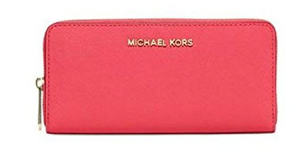 Michael Kors Jet Set Travel ZA Continental Leather Large Wallet, Watermelon by Michael Kors