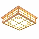 Japanese solid wood LED ceiling lamp living room restaurant bedroom tea room ceiling lamp, 45 45 12cm