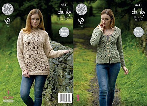 King Cole Ladies Sweater & Jacket Tweed Knitting Pattern 4741 Chunky by King Cole by King Cole