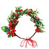 meidily flower crown for christmas, red berry garland flower headband for christmas, floral crown