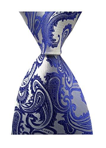 (Men's Royal Blue Silver Classic Skinny Silk Tie Luxury Dances Wedding Necktie)