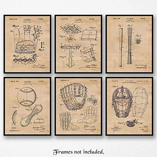 Original Baseball Patent Art Poster Prints - Set of 6 (Six 8x10) Unframed Vintage Style Pictures- Great Wall Art Decor Gifts Under $20 for Player-Fan-Coach-Student, Man Cave, Garage, Home, Office