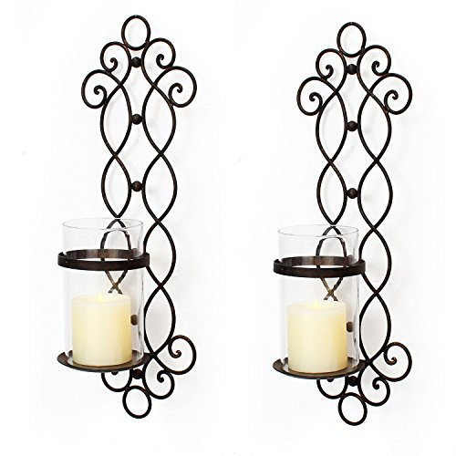 Homebeez Decorative Iron Vertical Candle Holder Sconce Wall Lighting, Vine Style, Black Color With Antique Finish (Set of Two) (Outdoor Wall Candles Sconces For)