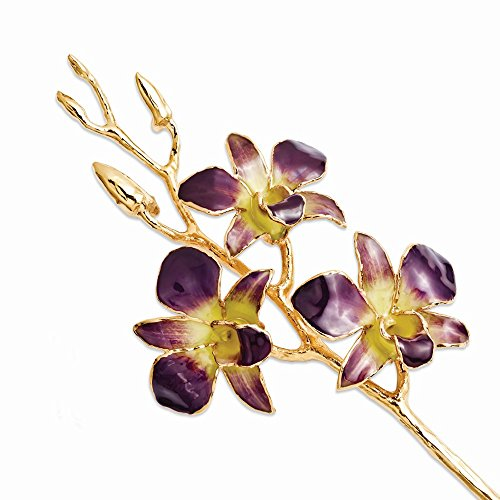 Lacquer Dipped Gold Trimmed Purple/Yellow Dendrobium Orchid (Dendrobium Orchid Pin)