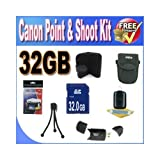 Canon PowerShot Accessory Saver Bundle! (32GB SDHC Memory + USB Card Reader + Memory Card Wallet + Deluxe Camera Case w/Strap + Lcd Screen Protectors + Mini Tripod + Accessory Saver Bundle!)