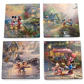 Disney Mickey and Minnie Mouse Glass Coaster - Sweetheart Collection - Thomas Kinkade - Comes With Stylish Modern Wooden Holder