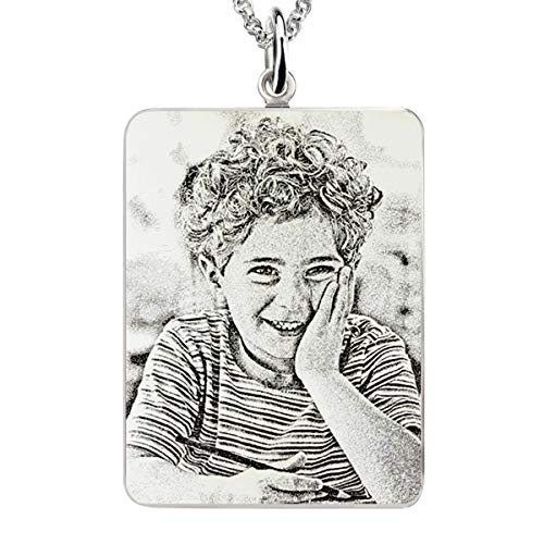 (AILIN 925 Sterling Silver Personalized Rectangle Engraved Photo Necklace Custom Picture Engraved with Any Image Jewelry Pendant Size 18)