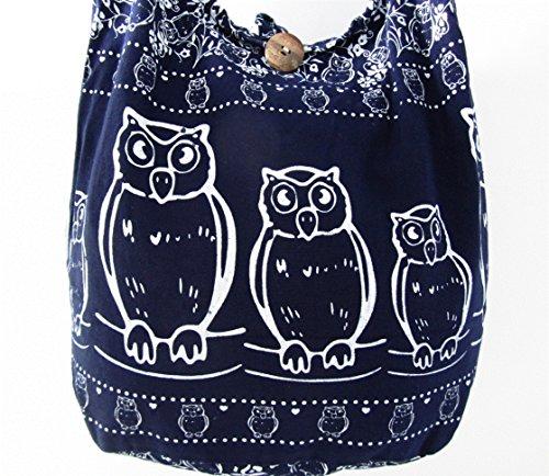 Boho Medium Bag Purse Women Owl Navy Hobo for Sling Hippie Thai Crossbody Shoulder nwxTpqCgZ