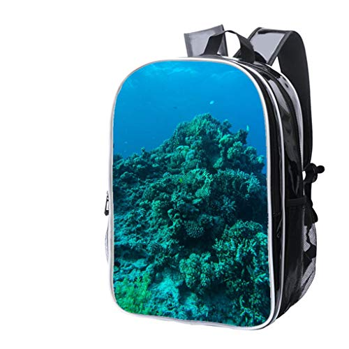 (High-end Custom Laptop Backpack-Leisure Travel Backpack Coral Reef with fire Coral and Exotic Fishes at The Bottom of Colorful Water Resistant-Anti Theft - Durable -Ultralight- Classic-School-Black)