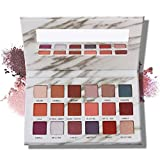 MAGEFY Eyeshadow Palette Professional 18 Pigmented Eye Shadow, 9 Matte + 9 Shimmer,Blendable Long Lasting Red Brown Metallic Glitter Eyeshadow Makeup Palette