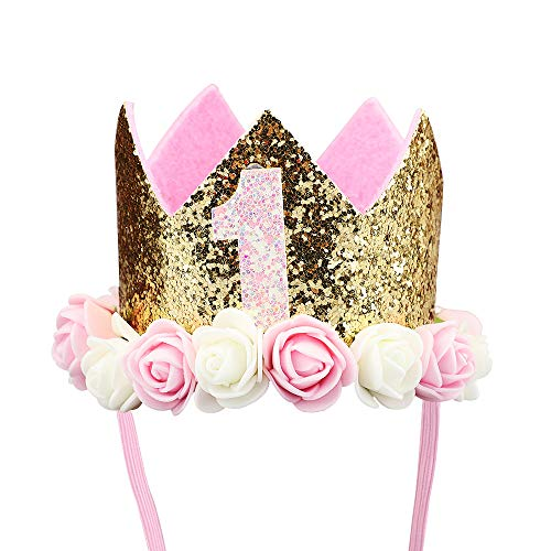 LIKIQ Birthday Crown for Baby Girls, First Birthday Hat Outfit Girl Princess Tiara Sparkle Gold Party Hair Accessories with Elastic Headband -