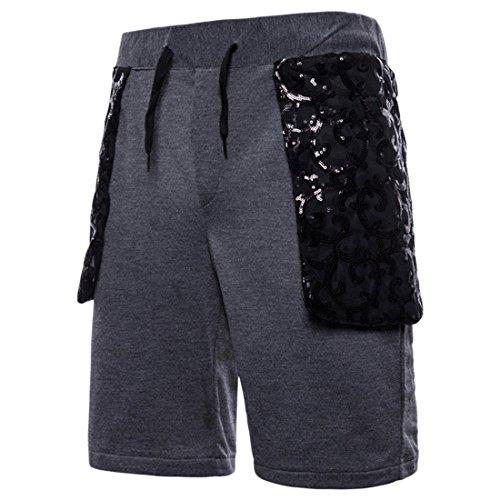 Pantalon Gris Mode Foncé Ai Shorts Hommes Gym Patchwork Cordon Entraînement Sequin moichien Jogger wppTqxfv