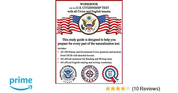 workbook for the us citizenship test with all civics and english