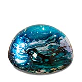 The Swirling Surf Paperweight, Clear Glass Dome, Tidal Bubbles, Shades of Blue, Aqua Marine Green, White, Handcrafted Art Object, 3 Inch Diameter, Hemi Sphere, Velvet Coated Flat Bottom By WHW