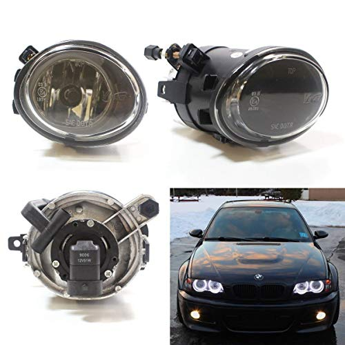 (iJDMTOY One Pair Clear Lens Fog Lights Foglamps w/Halogen Bulbs For 2001-2005 BMW E46 M3, 3 Series w/M-Tech Bumper or 1999-2002 BMW E39 M5 (OEM# 63 17 7 894 018, 63 17 7 894 017))