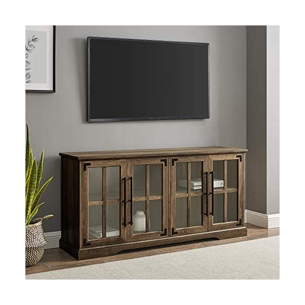 """Walker Edison Rustic Farmhouse Wood and Glass 2 Cabinet Doors Electric Fireplace Stand Console, fits TVs up to 65"""", 60 Inch, Rustic Oak"""